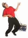 Homme heureux jouant Air guitar Photos libres de droits