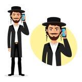 Homme heureux juif parlant sur le vecteur de téléphone à plat d'isolement sur le blanc illustration de vecteur