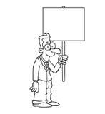 Homme heureux noir et blanc d'affaires avec le signe Photo stock