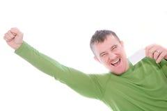 Homme heureux retenant la carte vierge Image stock