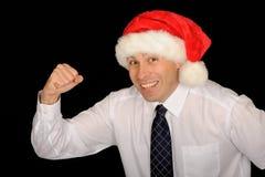 homme heureux Santa de chapeau photographie stock libre de droits