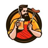 Homme heureux tenant une tasse de bière fraîche Brasserie, bar, logo de boissons d'alcool ou label Illustration de vecteur Illustration de Vecteur