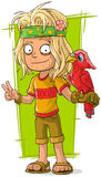 Homme hippie de bande dessinée avec l'oiseau rouge Photos libres de droits