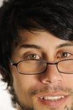 Homme hispanique avec des glaces de relevé photo stock
