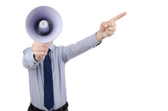 Homme hurlant du haut-parleur Photographie stock