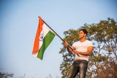 Homme indien et drapeau indien photo libre de droits