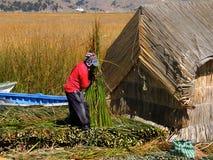 Homme indigène dans Puno, Pérou image stock