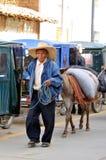 Homme indigène des Andes nordiques au Pérou Photos stock