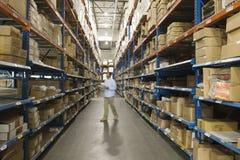 Homme inspectant des boîtes dans l'entrepôt image libre de droits