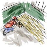 Homme installant des étages de bois dur Images libres de droits