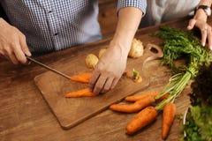Homme intelligent animé faisant cuire des légumes pour le dîner Image stock