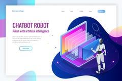 Homme isométrique de robots avec l'intelligence artificielle fonctionnant avec une interface virtuelle dans des emails de chatbot illustration de vecteur