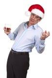 Homme ivre dans le chapeau de Santa de Noël Image libre de droits