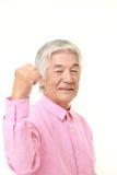 Homme japonais supérieur dans une pose de victoire Image libre de droits