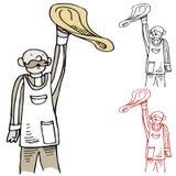 Homme jetant la pâte en l'air de pizza Image libre de droits