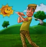 Homme jouant au golf illustration stock