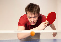 Homme jouant au ping-pong Image stock