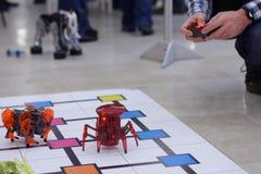 Homme jouant avec des robots Images stock
