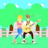 Homme jouant la datation de guitare et de femme au parc, concept de couples du jour de valentine illustration de vecteur