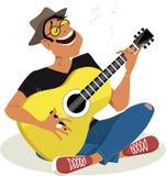 Homme jouant la guitare illustration stock