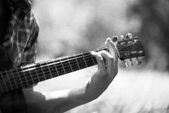 Homme jouant la guitare sur le pique-nique Photographie stock