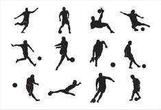 Homme jouant la pose de ruissellement de coup-de-pied d'élément de conception de silhouette du football du football illustration de vecteur