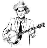 Homme jouant le banjo illustration stock