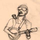 Homme jouant le croquis de musique Photo libre de droits
