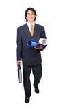 Homme latin d'affaires prêt à fonctionner Photo stock