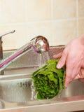 Homme lavant les légumes frais dans la cuisine images stock