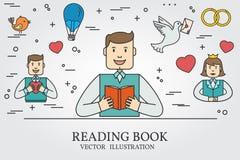 Homme lisant un livre et imaginant Love Story Pensez la ligne ico Images libres de droits