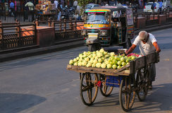 Homme local poussant le chariot avec des légumes à la rue i de Johari Bazaar Images libres de droits