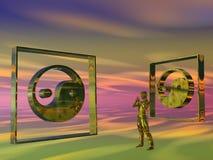 Homme méditant d'or, Yin Yang Image libre de droits