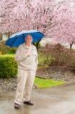 Homme mûr avec Ulmbrella sous la pluie Image libre de droits