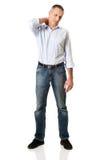 Homme mûr avec douleur cervicale Photographie stock libre de droits