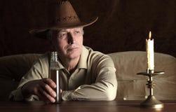 Homme mûr dans le chapeau de cowboy Image libre de droits
