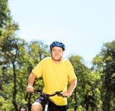 Homme mûr dans les vêtements de sport posant sur un vélo de montagne en parc Image stock