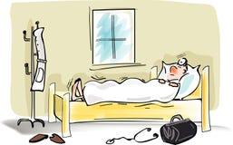 Homme malade dans bed.jpg illustration de vecteur