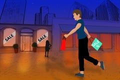 Homme marchant avec des paniers Photos stock