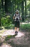 Homme marchant dans la forêt Image libre de droits