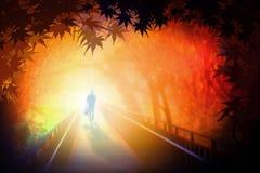Homme marchant sur le pont Image libre de droits