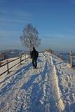 Homme marchant sur une route de campagne pendant l'horaire d'hiver photographie stock libre de droits