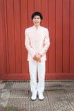 Homme/marié thaïlandais dans le costume thaïlandais de mariage Photo libre de droits