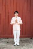 Homme/marié thaïlandais dans le costume thaïlandais de mariage Photo stock