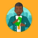 Homme mettant l'argent dans l'illustration de vecteur de poche Photos libres de droits