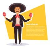 Homme mexicain avec des maracas Photographie stock