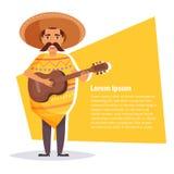 Homme mexicain avec une guitare Photo libre de droits