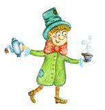 Homme mignon avec la tasse de thé et l'illustration d'aquarelle de bouilloire illustration de vecteur