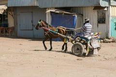 Homme montant un chariot de cheval photo libre de droits