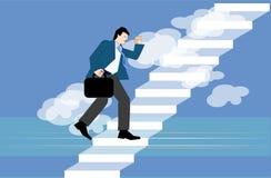 Homme montant vers le haut les escaliers Image stock